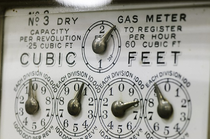 Close-up of dials on an old fashioned gas meter from the 1920s/1930s