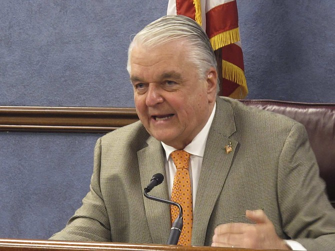Nevada Gov. Steve Sisolak announced during a news conference in Carson City, Nev., Thursday, May 7, 2020, that Nevada will begin allowing restaurants, salons and other non-essential businesses to reopen starting Saturday. It's the first easing of restrictions imposed in Nevada seven weeks ago to stop the spread of the coronavirus. Casinos are among businesses that will remain closed for now. (AP Photo/Scott Sonner)