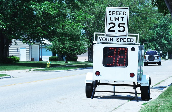 Portable speed limit radar.Click on the photo below to see my other photos of URBAN SCENES . . .