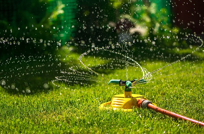 Watering a green lawn in the garden. Garden hose and sprayer. Splashes of water in the sun