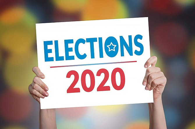 Elections 2020 Card with Bokeh Background