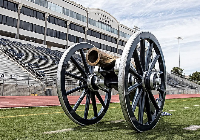 The coveted Fremont Cannon trophy. Photo courtesy of the University of Nevada, Reno