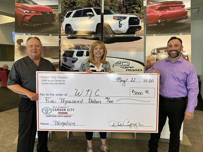 From left, Carson City Toyota former General Manager Dana Whaley, WNC Executive Director of Institutional Development Niki Gladys and Carson City Toyota General Manager Jeff Campagni.
