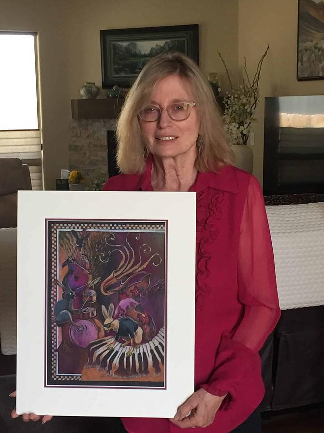 Karen Kreyeski shows her winning entry for the 2020 Jazz & Beyond Carson City Music and Art Festival poster.