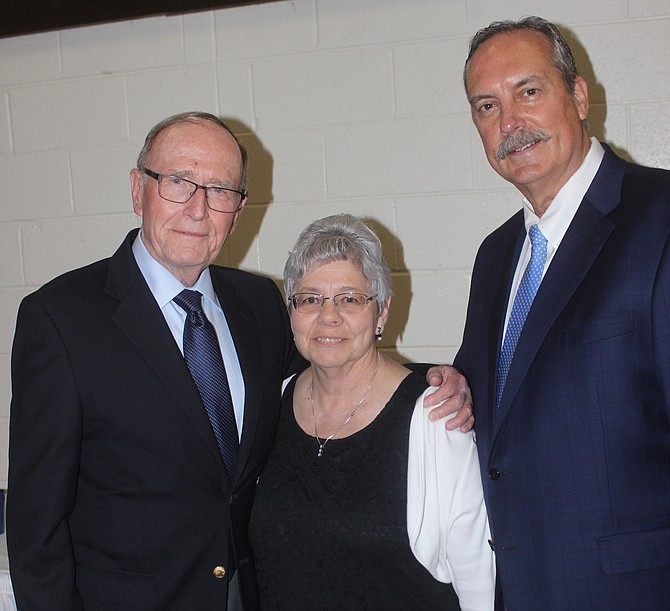 Nyla Howell, center, is stepping down after a decade as chairwoman of the Churchill County Democratic Central Committee. At the 2018 fundraising dinner, she is with former U.S. Sen. Richard Bryan, left, and Fallon Mayor Ken Tedford.