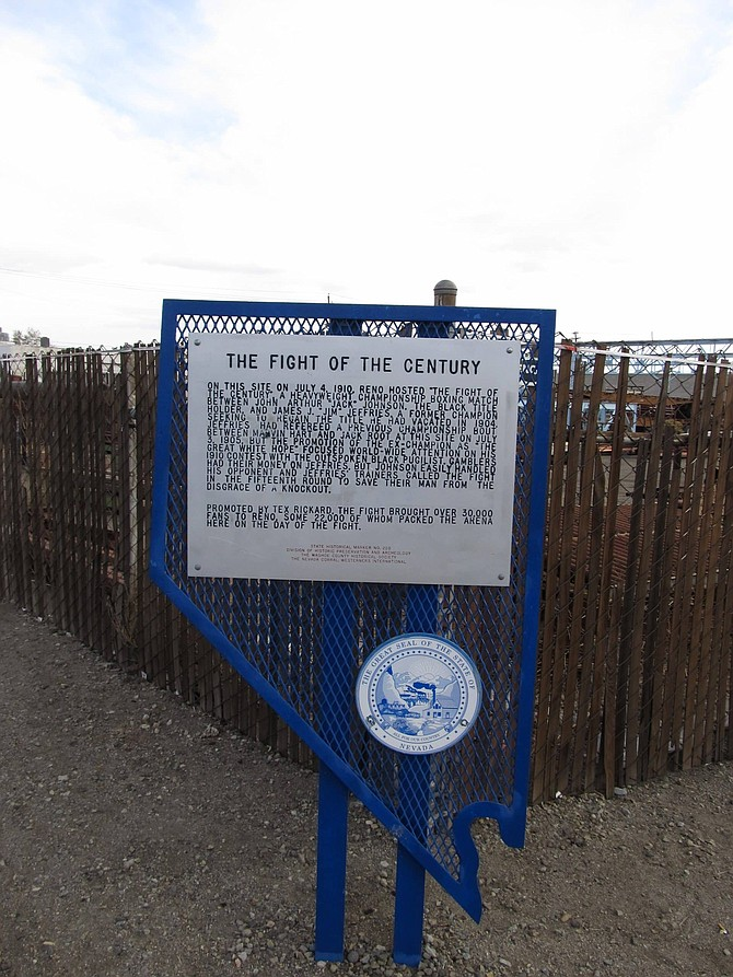 Photo of a sign marking the site of the fight for the heavyweight championship in Reno in 1910.