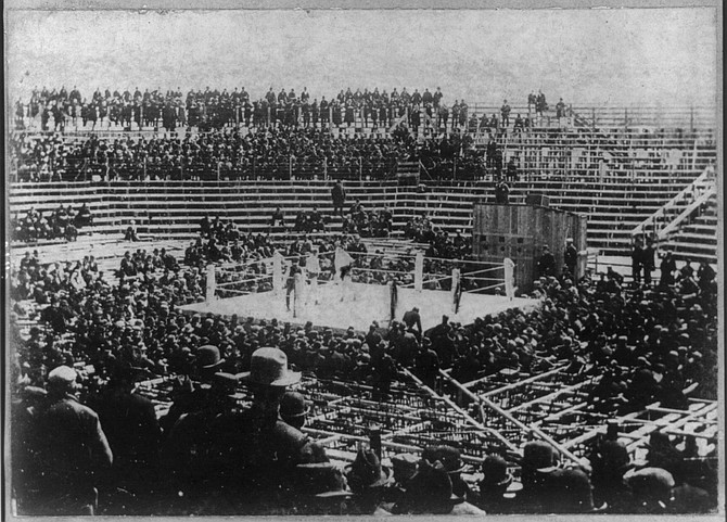 Image of the ring built in 1897 in Carson City to host the heavyweight championship bout between James J. (Gentleman Jim) Corbett and Robert P. (Ruby Robert) Fitzsimmons.