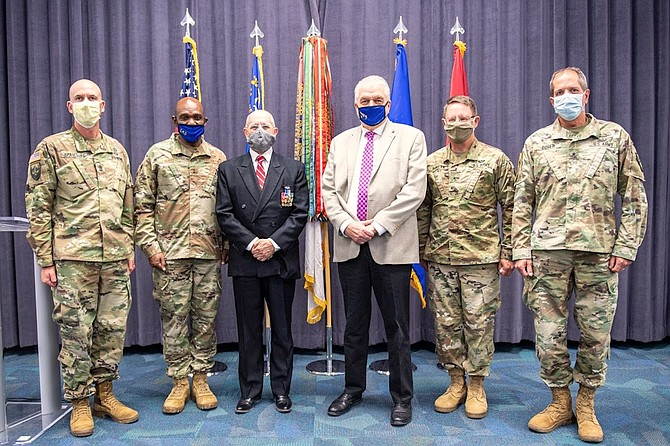 Nevada Gov. Steve Sisolak, third from right, took time out to recognize the Army's 245th Birthday and Flag Day on Friday in Carson City with, from left, Command Sgt. Maj. Michael Spaulding, Maj. Gen. Ondra Berry, keynote speaker retired 1st Lt. Andy LePeilbet, Brig. Gen. Michael Hanifan and Brig. Gen. Zachary Doser. LePeilbet is a rare Distinguished Service Cross recipient who won the award for his heroic actions in Vietnam in the late 1960s.