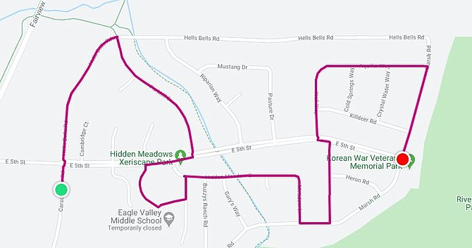 The planned route of Saturday's concert.