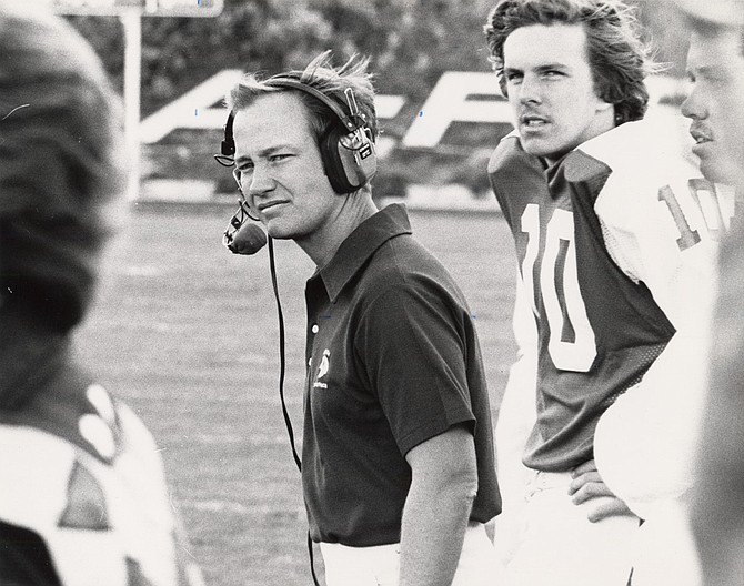 Nevada football head coach Chris Ault during a game in 1978 with quarterback Kevin Wheeler (10). Before leading the Wolf Pack to 233 wins, Ault was a high school coach in Northern Nevada.