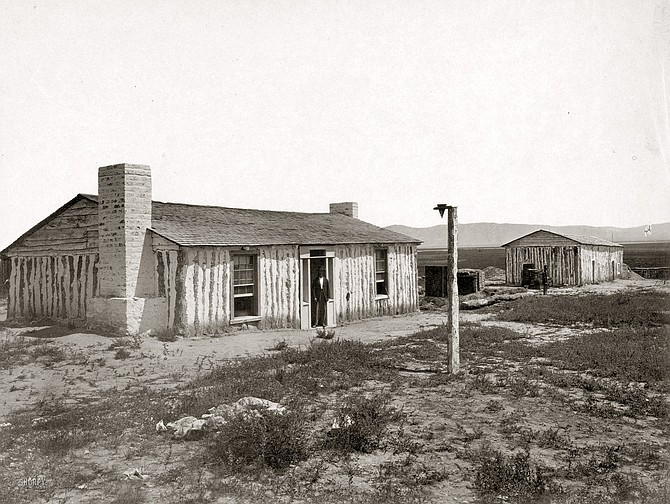 Photo of Fort Ruby as it appeared in 1868, when famed western photographer Timothy Sullivan captured this image.