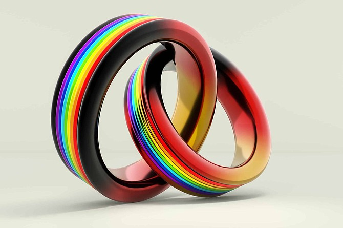 3d illustration, Wedding Rings symbolizing the same sex marriage  in Germany