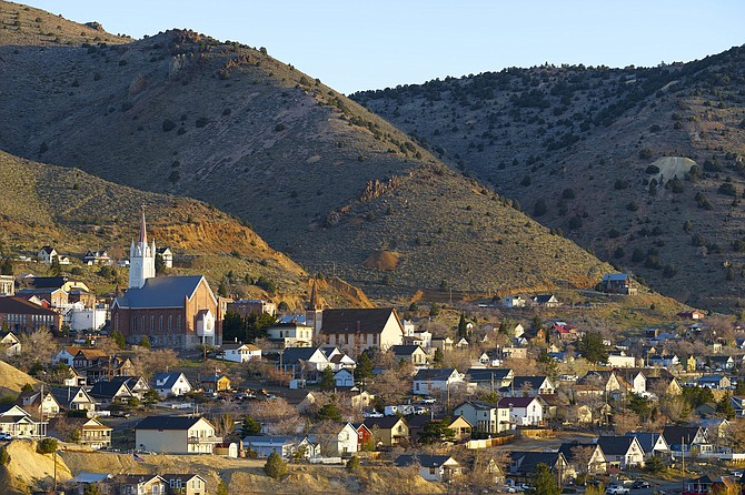 The wild town of Virginia City, Nev., in early morning light.