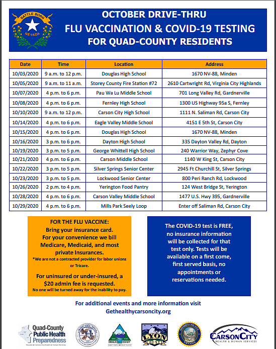 October Drive-Thru Flu Vaccination and COVID-19 Testing for Quad-County Residents
