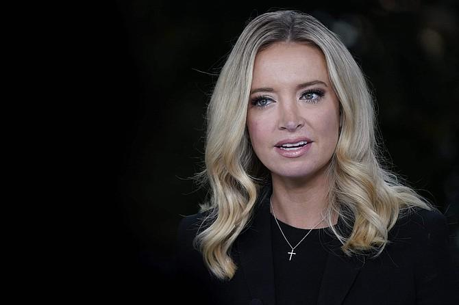 White House press secretary Kayleigh McEnany, is interviewed by Fox News, Sunday, Oct. 4, 2020, at the White House in Washington.