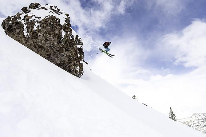 Skier enjoys deep powder in Kirkwood.