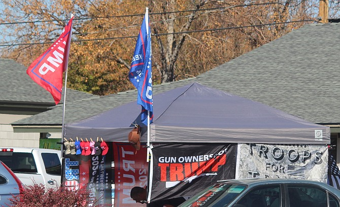 Trump merchandise on sale in Gardnerville on Nov. 2. Douglas County voted for the President.