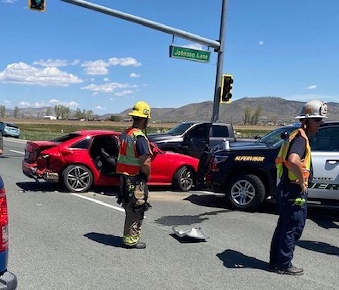 Rescuers at the scene where a man was arrested May 1, 2020, for attempting to elude deputies.