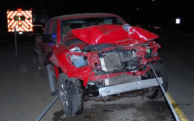 A red Toyota Tacoma involved in a Feb. 28, 2020, fatality.