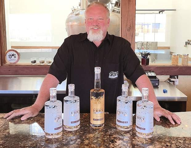 Russell Wedlake of Frey Ranch Estate Disterlly displays the award-winning gin and vodka.