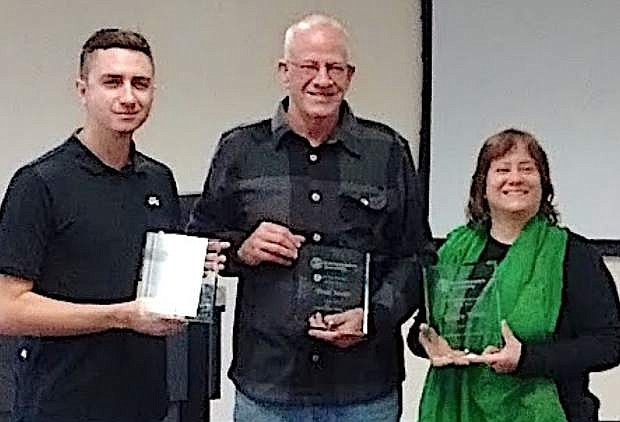 Recognized by the Entrepreneurs Assembly (EA) during the 2016 EA Celebration of Entrepreneurship were Ryan Klekas, left, Student Entrepreneur of the Year; Brad Jones, Mentor of the Year; and Eileen Webb, Entrepreneur of the Year.