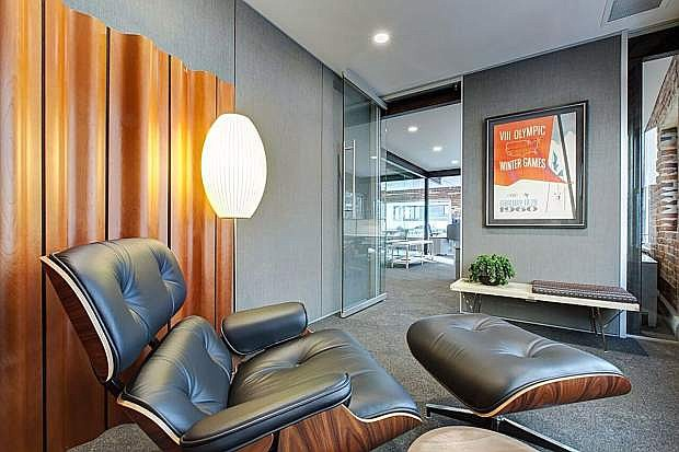 A lounge area at the Reno office of Henriksen Butler encourages employee relaxation.