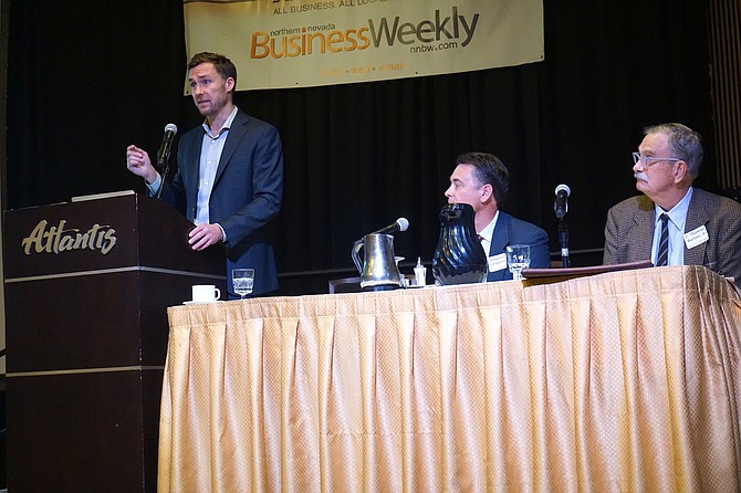 Matthew Rozier, IP counsel at Snell & Wilmer, gives a presentation on intellectual property during the NNBW's Industry View event Thursday, Feb. 15, at the Atlantis Casino Resort.
