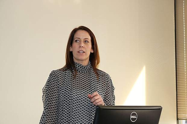 Marie Steele, manager of electric vehicles and renewable energy at NV Energy, speaks during the Electric Transportation Forum on Thursday, Feb. 22, at the UNR Innevation Center.