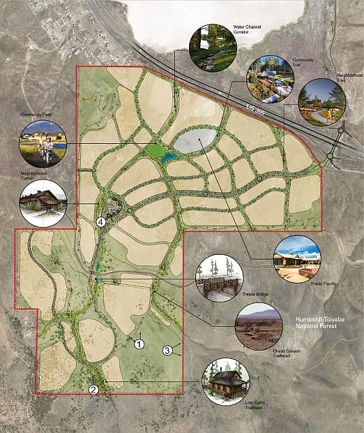 This map prepared for the City of Reno planning process shows features of the 1,737-acre StoneGate planned community in Cold Springs.