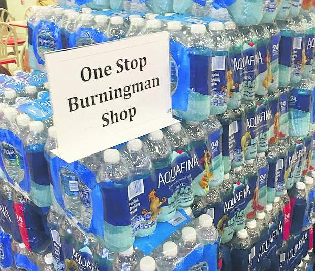 Water bottles on display at the Jacks Valley Target advertising the store as a Burning Man shopping location.