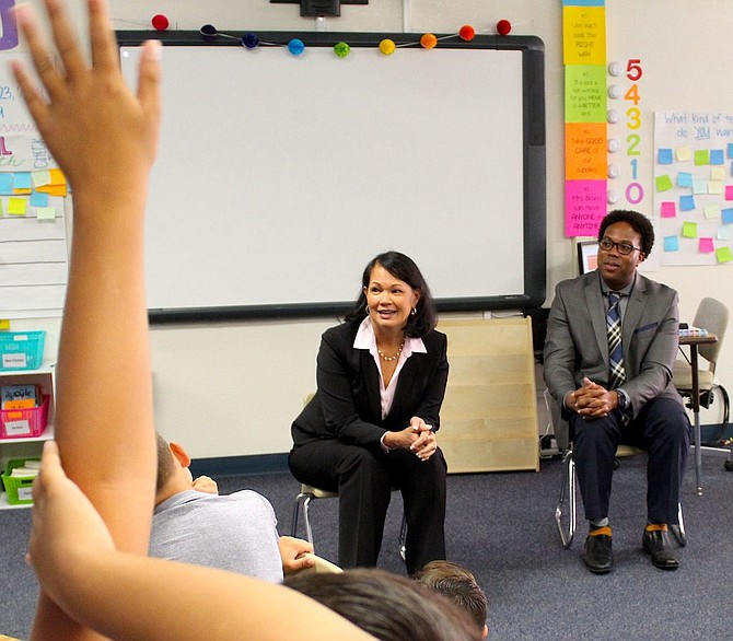 Nevada Superintendent of Instruction Jhone Ebert answers a question at Scarselli Elementary School in Douglas County on Sept. 23.
