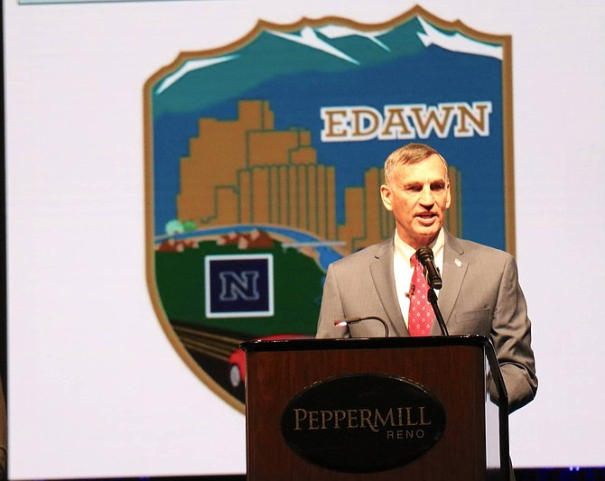 EDAWN CEO Mike Kazmierski speaks during the annual EDAWN State of the Economy luncheon on Thursday, Jan. 23. at the Peppermill Reno.