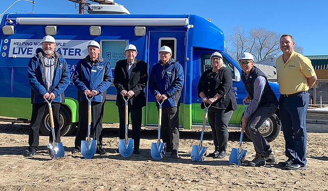 On Feb. 11, Greater Nevada Credit Union broke ground on a new branch at the corner of 12th and Idaho streets. Pictured, from left are GNCU Board of Directors members Rob Joiner, Bill Arensorf, Vernon Dalton (emeritus), and Alex Talmant; Elko Chamber of Commerce CEO Billie Crapo; City of Elko Mayor Reece Keener; and GNCU President/CEO Wally Murray.