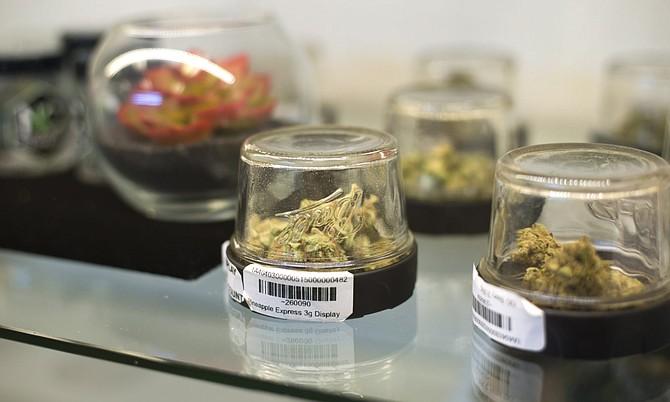Marijuana is displayed inside Inyo Fine Cannabis Dispensary on Monday, Feb. 5, 2018.