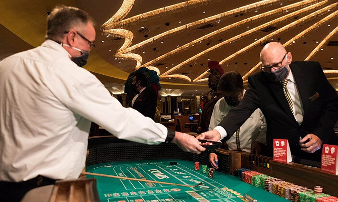 A view from the casino floor at Caesars Palace Las Vegas Hotel & Casino after reopening its doors to the public on Thursday, June 4.