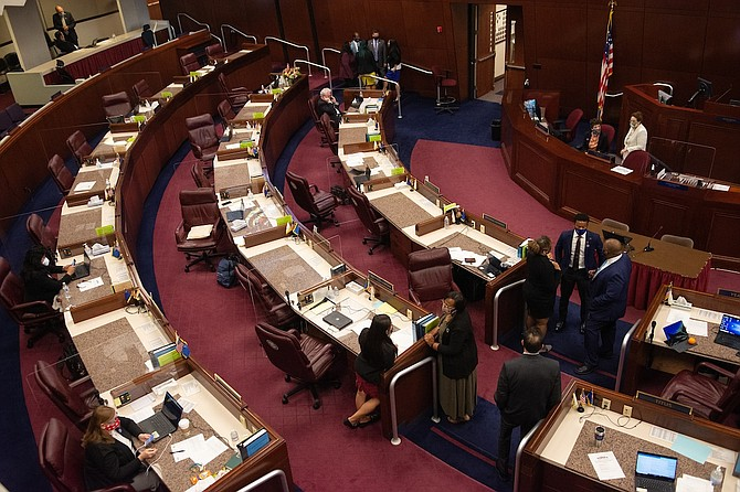 Overhead view of the Nevada Assembly on Tuesday, Aug. 4, 2020 during the fifth day of the 32nd Special Session of the Legislature in Carson City.