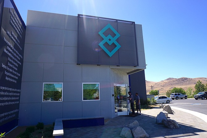 Exterior view of Blockchains, LLC offices at 610 Waltham Way in the Tahoe-Reno Industrial Center.