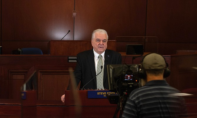 Governor Steve Sisolak records his State of The State address inside the Assembly Chamber at the Nevada Legislature in Carson City on Saturday, Jan. 16, 2021.